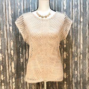 Dressbarn Batwing Open Knit Shortsleeved Sweater